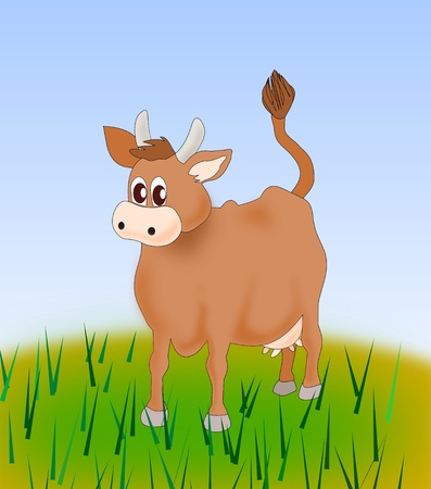 A brown cow standing in a meadow. photo