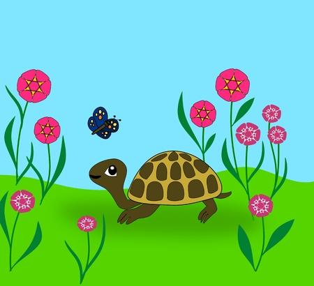 paciencia: Una tortuga mirando una mariposa. Foto de archivo