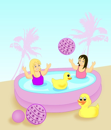 Two little girls bathing in an inflatable paddling pool. photo