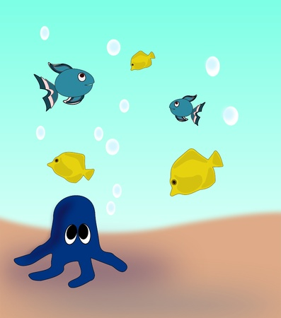A blue octopus on the seabed and fish swimming around. photo