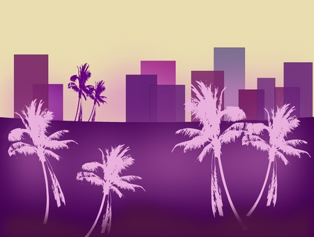 forground: A stylistic image of a skyline   with palm trees in the forground. Stock Photo