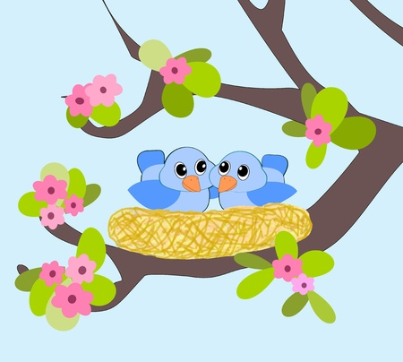 Two little blue birds in a nest. photo