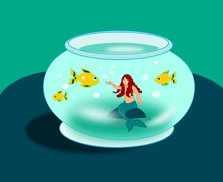 A mermaid sitting in a goldfish   bowl with three goldfish.  photo