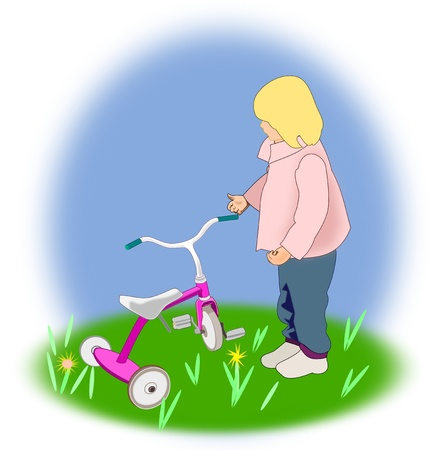 A little blond girl who is   looking at a purple tricycle.  Stock Photo