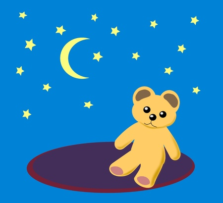 A teddy bear sitting on a round rug under a starry sky. photo