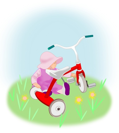 soft pedal: A toddler girl sits and plays with a red tricycle.