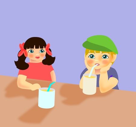 Two children sitting at a table with two glasses with straws. photo