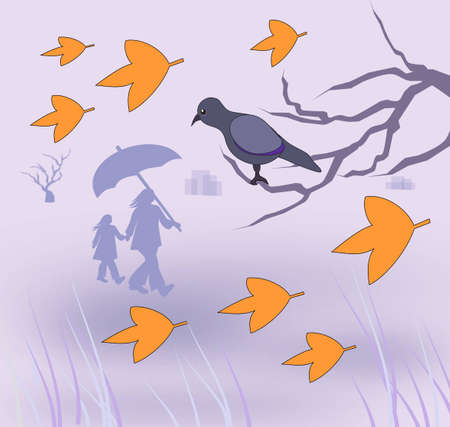 A bird sitting on a branch  looking at a woman and a child walking under an umbrella. photo