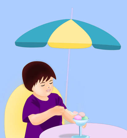 A child who eats ice cream under a parasol. photo