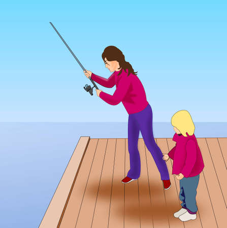 A woman with a child who fish from a pier. photo