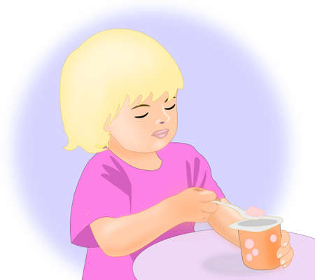 A little blond girl eating a yogurt.  photo