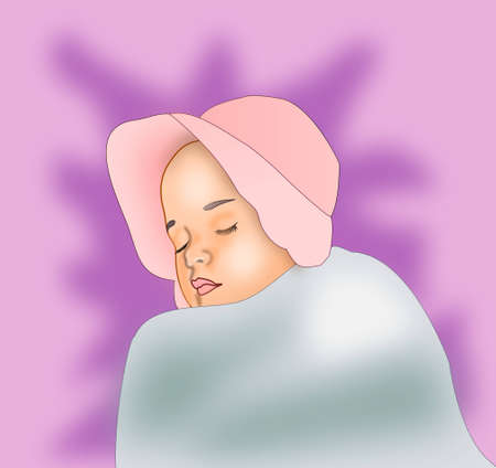 A sleeping baby girl with a pink bonnet. photo