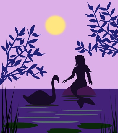 A mermaid sitting and talking to a swan. photo
