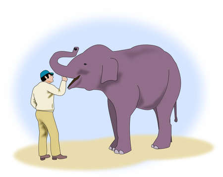 endearment: A man who pats the trunk of an elephant.