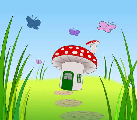 A toadstool with door window and chimney. photo