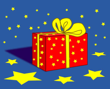 A gift parcel with red paper and yellow ribbons. photo