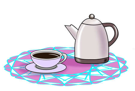 Coffee pot and cup standing on a round tablecloth.  photo