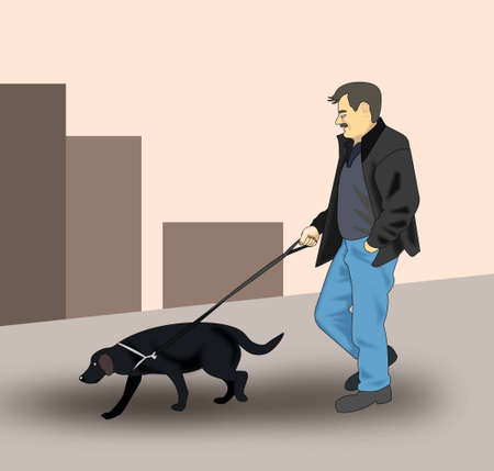 watchdog: A man walking the dog in the city.
