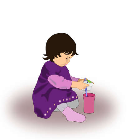A little girl sitting and playing with a drinking bottle  photo