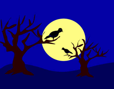 Two black birds sitting in the trees and it is night and moonlight  photo
