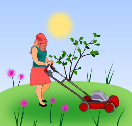 push mower: A girl mowing the grass with a lawn mower  Stock Photo