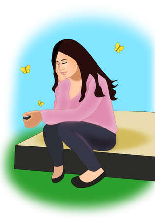A young girl sitting and holding a cell phone in one hand and looking like she is dreaming or maybe a little bit sad