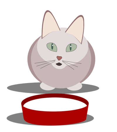 stylistic: A stylistic designed cat sitting by a bowl of milk