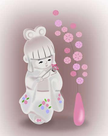 Una mu�eca japonesa en kimono y un jarr�n con flores photo