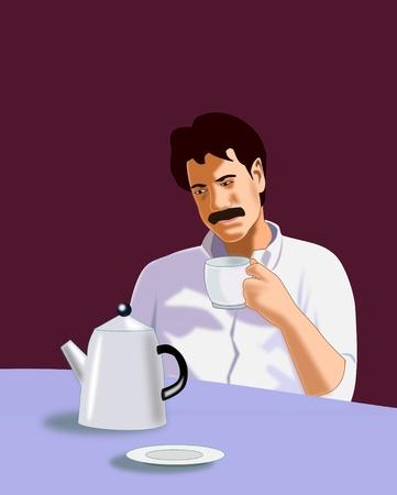Un hombre sentado en la mesa, tomando café o té Foto de archivo - 12663628
