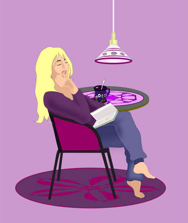 A blonde girl sitting at a  small table with a book on her lap Stock Photo - 12663634
