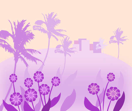 A small village on top of a  hill in the background, palm trees and  flowers in the foreground Stock Photo - 12663648
