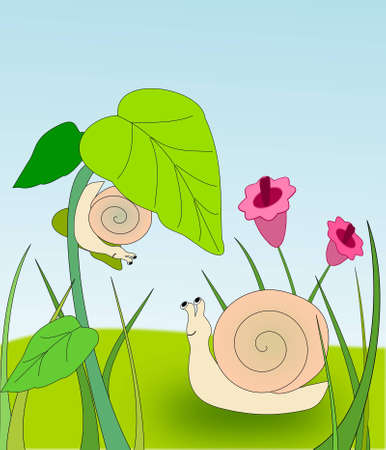 sliding colors: Two snails in a flower meadow, one is climbing on a flower  Stock Photo