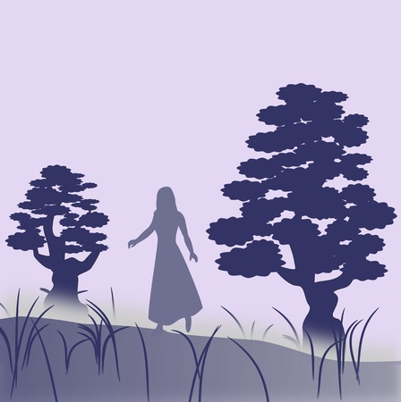 A female character who walks in the fog between two large trees  photo
