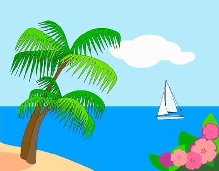 Las palmeras y flores en primer plano y un velero en el mar