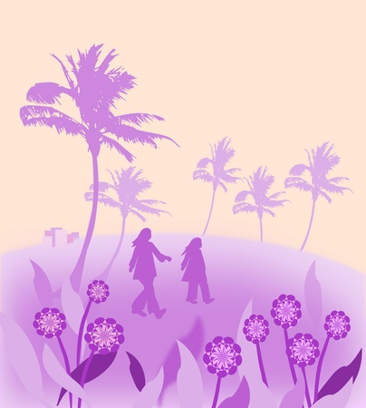 Two people walking in a landscape with flowers and palm trees  photo