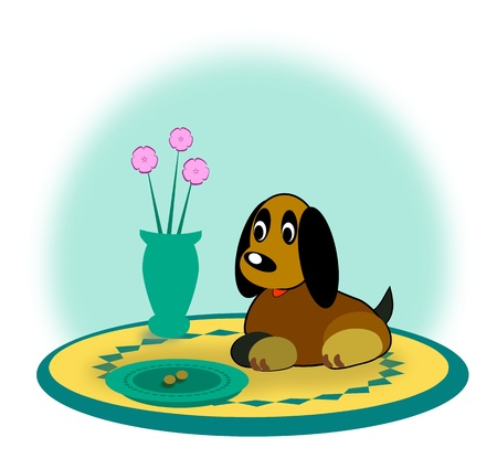 A small dog sitting and looking at a nearly empty food dish   photo
