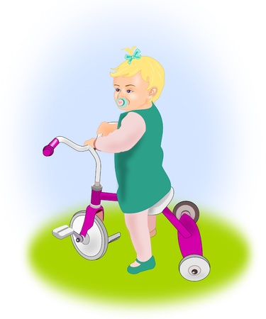 A little blond girl sitting on a purple tricycle