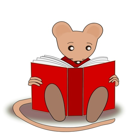 A little mouse reading a red book Stock Photo