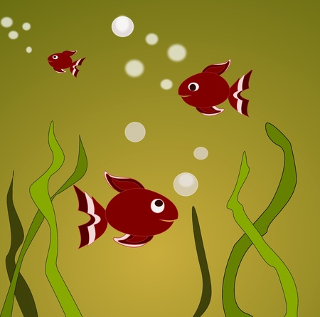 Goldfishes swimming in green water  Stock Photo - 13082075
