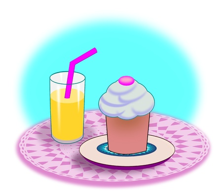A platter with a muffin and a glass of lemonade or juice with a straw   photo