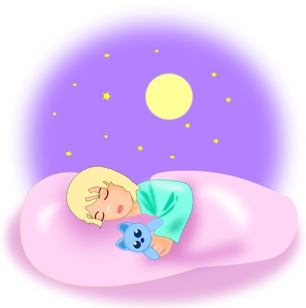 A little girl sleeping under a starry sky, with a blue toy cat.