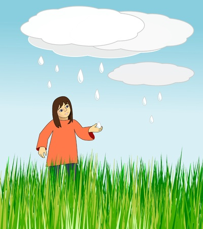 A meadow of tall grass where a girl is holding out her hand against falling rain drops.