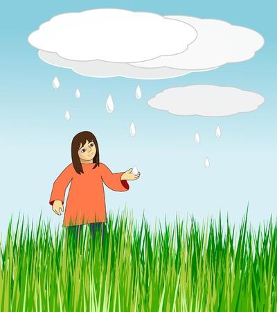 一个女孩举行她的手反对落的雨滴的草甸。