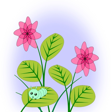 tranquility: A green little caterpillar on a leaf and two fantasy flowers. Stock Photo