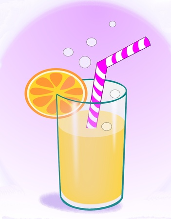 soft drink: A glass of soda or juice with a striped straw and an orange slice   Stock Photo