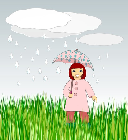A happy little girl with a  flowery umbrella    Stock Photo - 13363217