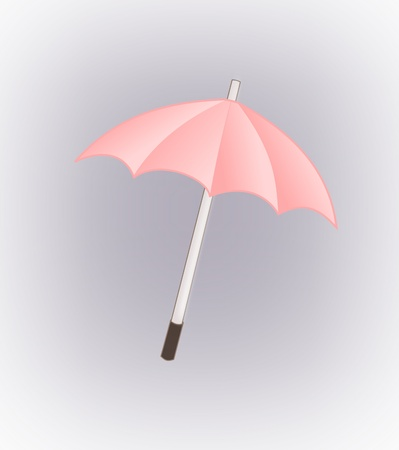 A pink umbrella against a grey background photo