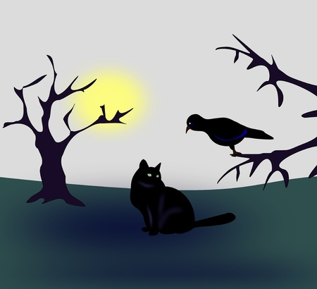 A bird sitting in a three, and a cat sitting and looking at the bird  photo