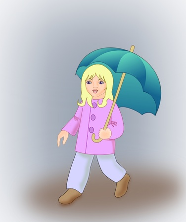 A blond girl walking with an umbrella  photo