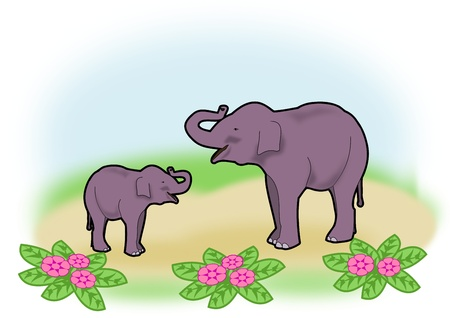 endearment: An elephant mother and a young elephant who seems to have fun.
